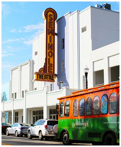 Trolley Stops Near Seminole Theatre