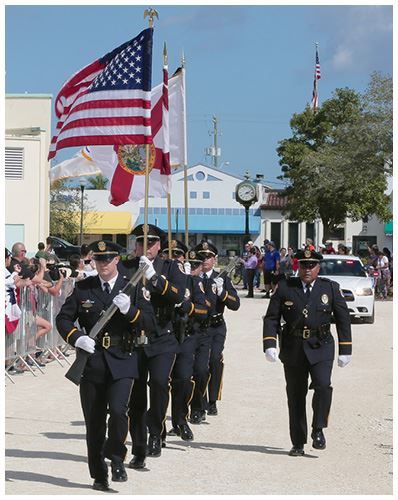Officers March Down Parade Route - Copy