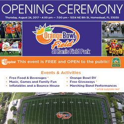 Orange Bowl Field at Harris Field Park Opening Ceremony Invitation