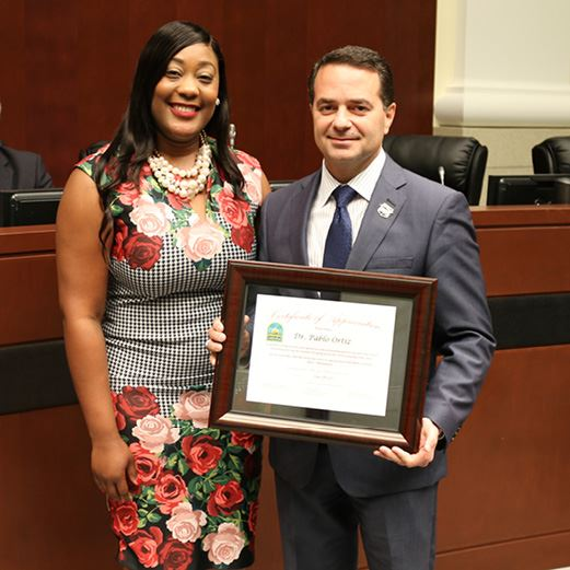 Councilwoman Fairclough Honors Dr Ortiz and FIU