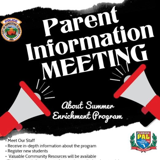 PAL Parent Meeting Summer Youth Enrichment 2018