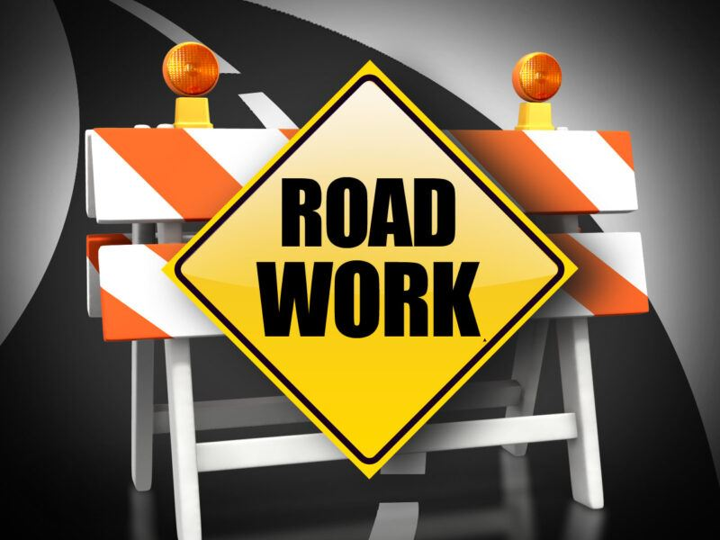 Road work notice image
