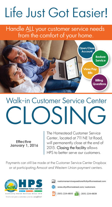 Walk In Customer Service Center Closing