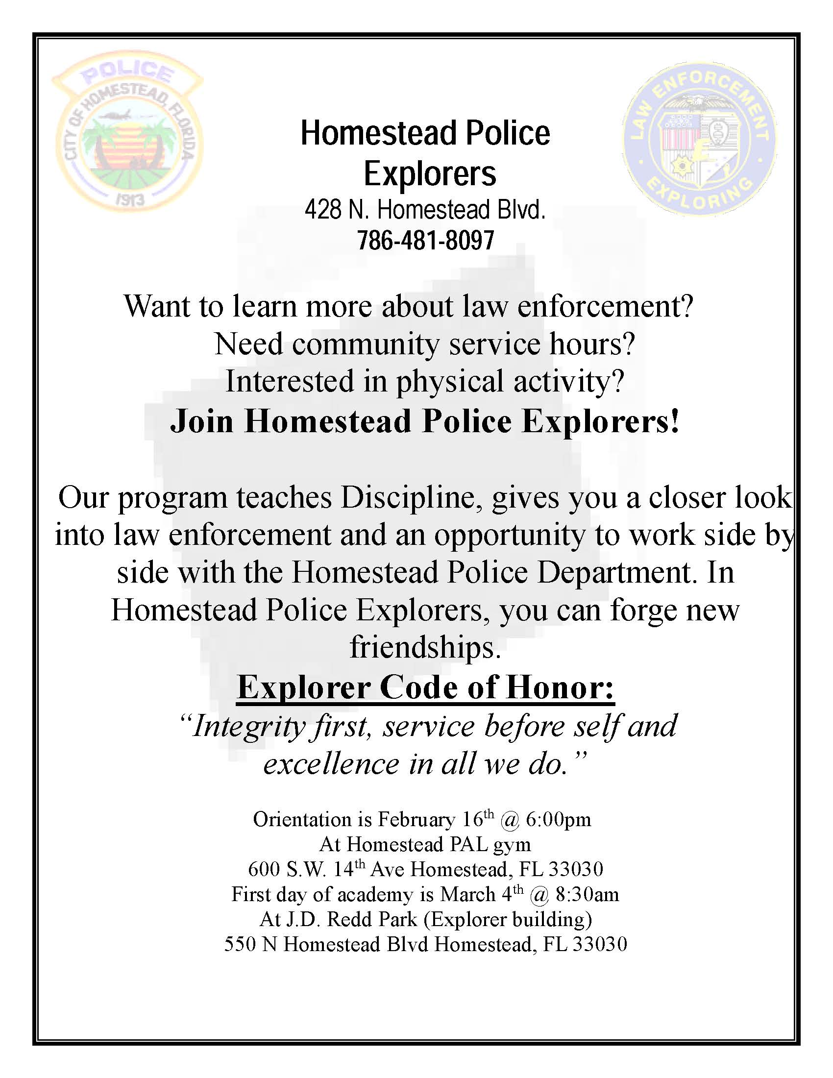 Police Explorers Recruit Flyer
