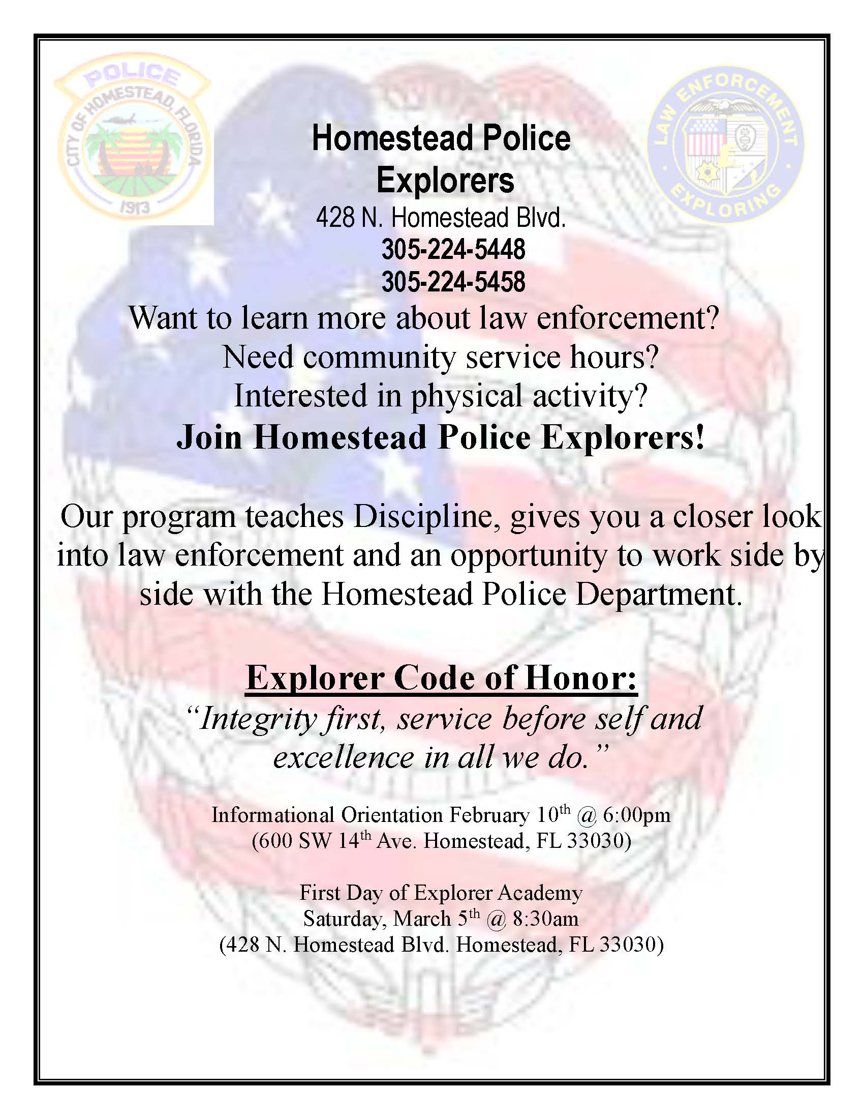 Homestead Police Explorers Recruitment