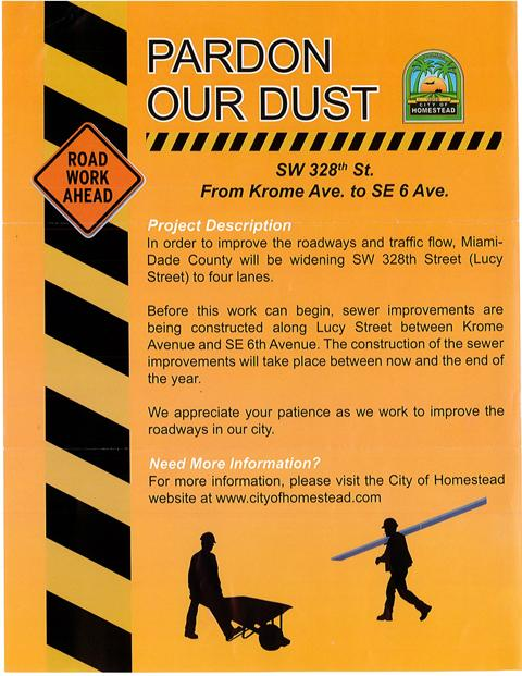 Pardon Our Dust Flyer Received in August 2014.jpg